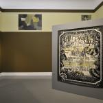 """Hadassah Emmerich - Tentoonstellingsaanzicht van de expositie """"Be(com)ing Dutch"""" in het Van Abbemuseum, Eindhoven, installatie met muurschildering en werken op papier, 2008 (foto Peter Cox)"""